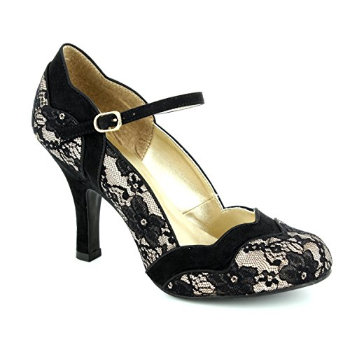 Ruby Shoo IMOGEN Vintage LACE Spitzen Riemchen Pin Up Heels PUMPS Rockabilly (38)