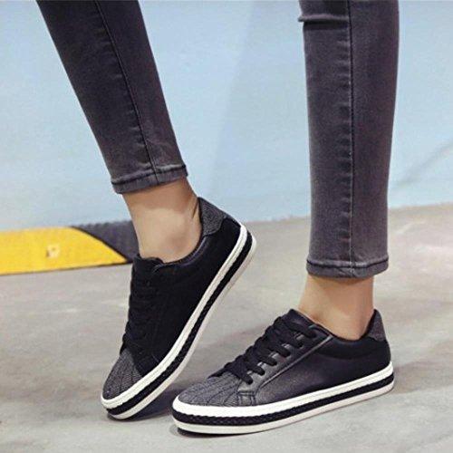 COOLCEPT Femmes Mode Sneakers Dentelle Courir La Marche Sport Chaussures Noir