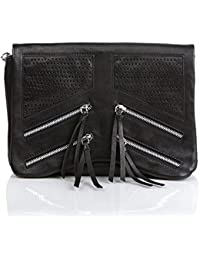 FEYNSINN pochette & sac à bandoulière HALEY - clutch - sac à main de soirée noir en cuir véritable