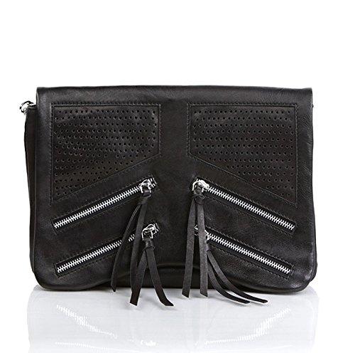 FEYNSINN® Clutch & Umhängetasche HALEY - Damen Abendtasche groß Ledertasche - Unterarmtasche Damentasche echt Leder schwarz
