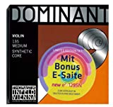 Thomastik Dominant 135 MEDIUM - 4/4 Violin Saitensatz ! 5-teilig ! LIMITED EDITION SET mit Extra e-Saite der neuen Generation e² 129SN aus Carbon-Stahl mit abnehmbarer Kugel [original Thomastik Infeld Viena Handmade Strings ]