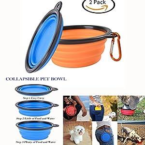 Itian Lot de 2 Gamelle Pliant pour Chiens et Chats, Portable bol en silione à eau ou à alimentation, Gamelle Voyage avec Mousqueton (Bleu + Orange)
