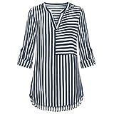 BHYDRY Damen Chiffon Bluse Split V-Ausschnitt mit Bündchen Ärmel Gestreiften Blusen Shirt Tops(2XL.Marine)