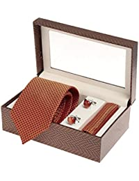 Sir Michele Designer Orange Micro Silk Tie, Pocketsquare and Cufflink Set