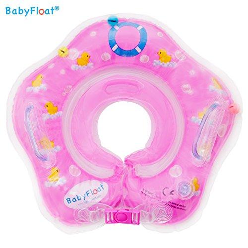 BabyFloat ® Schwimmring Hals Neck - verstellbar aufblasbar Kinder Hals für 0-24 Monate Baby (Rosa - Duck)