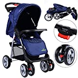 Safeplus Kinderwagen Buggy Sportwagen Reisebuggy Spazierwagen Kinderbuggy Babywagen klappbar Farbwahl (blau)
