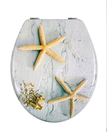 vetrineinrete® copriwater universale in legno mdf serigrafato tavoletta da bagno wc con stampa cerniere in acciaio inox resistente 52977 (stelle marine) g63
