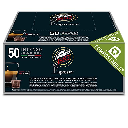 Caffè vergnano 1882 Èspresso capsule caffè compatibili nespresso, intenso - pack da 50 capsule
