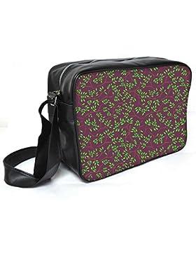 Snoogg grün Blätter braun Muster Leder Unisex Messenger Bag für College Schule täglichen Gebrauch Tasche Material PU