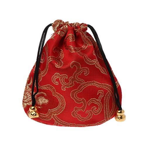LLLucky Chinesische Stickerei Schmuck Paket Klassische Chinesischen Stil Geschenk Kordelzug Taschen Seide Reisetasche Kleine Artikel Organizer Rot (Chinesische Rote Pakete)