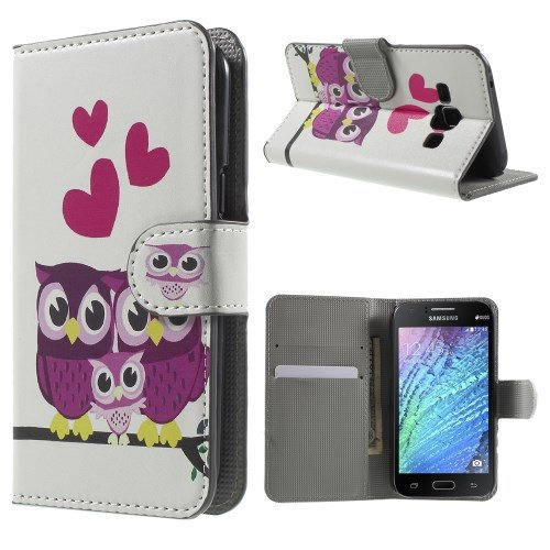 jbTec® Flip Case Handy-Hülle zu Samsung Galaxy J1 / SM-J100 - BOOK MOTIV - Handy-Tasche, Schutz-Hülle, Cover, Handyhülle, Ständer, Bookstyle, Booklet, Motiv / Muster:3 Eulen mit Herzen E19