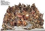 artigianale Presepe ruscello, Fontana, Mulino, Forno e luci Misura 84x75x80h cm