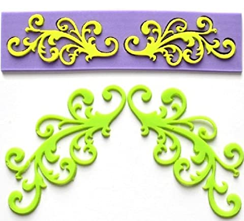 Allforhome Silicone Embossing Mold Lace Fondant Mould Fondant Cake Decoration Mould Polymer Clay Resin Molds