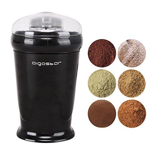 Aigostar Breath 30CFR   Molinillo compacto de café  especias  semillas o granos. Potencia de 150 watios  capacidad de 60 gr.  cuchillas de acero inoxidable con láminas antidesgaste. Libre de BPA  color negro. Diseño exclusivo.