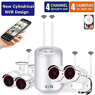 (2018 Newest) Security Camera System Wireless,Full HD 4CH 1080P Wireless Video Security System with 1TB HDD,4pcs 2.0MP Indoor Outdoor Wireless Cameras,75ft Night Vision,Easy Remote View by Zoohi