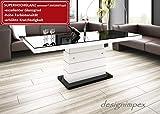 Design Couchtisch Matera Lux H-333 Schwarz/Weiß Hochglanz höhenverstellbar ausziehbar Wohnzimmertisch