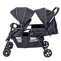 Heay Jogging Stroller, Fold City Baby Pushchair, Double Toddler Baby Pram With 2-Panel Canopy,Jogging Compact Urban Carriage With Adjustable Backrest (Color : Black)