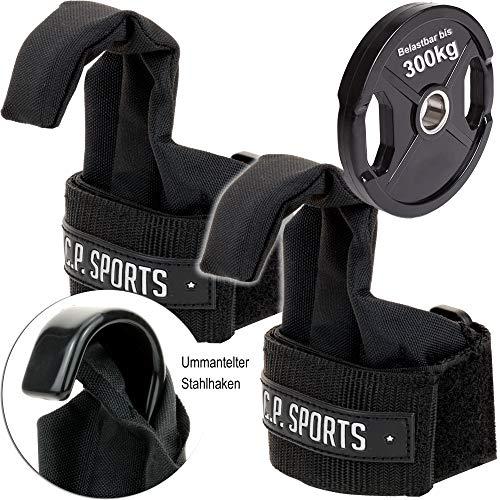 C.P.Sports Profi-Klimmzughaken T17 - Power Lifting Hooks/Latzughilfen schwarz mit Klettverschlüssen