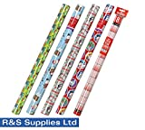 from R & S Supplies Ltd. 4 x 5M Rolls Of Christmas Gift Wrap Paper Wrapping Santa Xmas Characters AND GET A YEARLY WALL PLANNER FREE WITH STICKER DOTS AND EMOJI DOTS