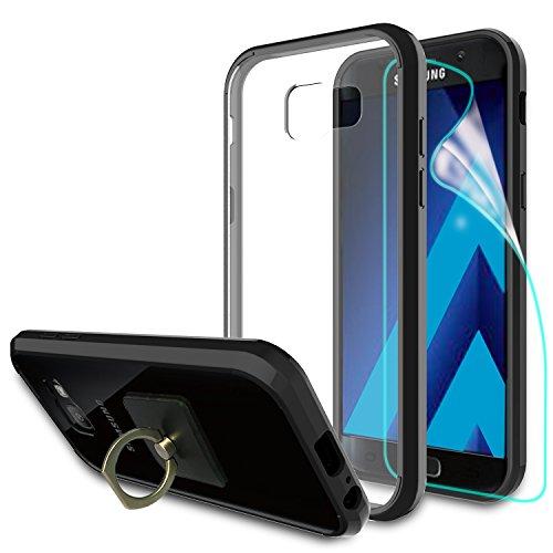 Samsung Galaxy A3 2017 Hülle mit HD Displayschutzfolie + Telefon Ständer, Athchu [Anti-Scratch] [Stoßdämpfer] [Air Hybrid] Ultra Slim Stoßstange Abdeckung für Samsung Galaxy A3 2017-CB Schwarz (Strass Schwarz Tee)