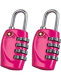 2x TSA Candado–4-dial combinación maletas bolsa de equipaje código de bloqueo de seguridad (rosa)–Garantía de por vida