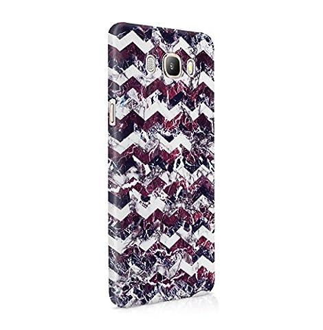 Violet Cherry Blanc Marbre Chevron Print Coque Housse Etui De Protection Plastique Dur Ligne Profil Slim Pour Samsung Galaxy J5 2016 Hard Plastic Case Cover