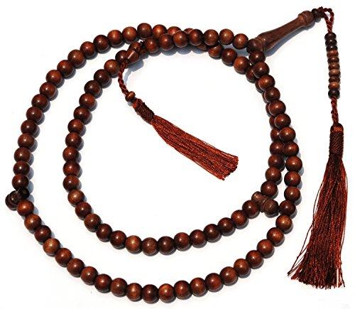 99 Natürliche (Stigi-Gebetskette aus Eisenholz, mit 99 Perlen, 2 Trennperlen und dunkelbraunen Quasten, natürlich gefärbt)