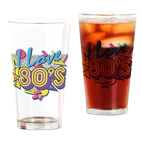 CafePress I Love The 80S Pint-Glas, 473 ml Trinkglas farblos