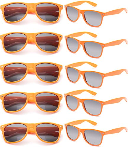 FSMILING Nerd Party Sonnenbrille UV400 Retro Design Stil Unisex Brille (10 Stück Orange Brillen)