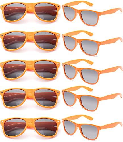 Orange Kostüm Für Erwachsene - FSMILING Nerd Party Sonnenbrille UV400 Retro Design Stil Unisex Brille (10 Stück Orange Brillen)