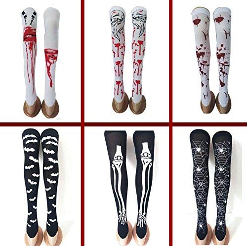 üm Halloween Blutige Socken Halloween Horror Gestreift Blutflecken Strümpfe Skelett Beine Neuheit Socken Über Kniestrümpfe - 6 Paare ()