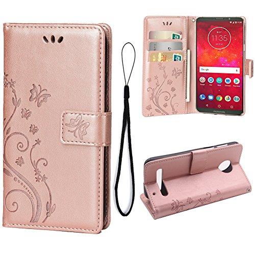 Teebo Hülle für Motorola Moto Z3 Play Schutzhülle aus PU Leder Handyhülle mit geprägtem Schmetterling-Muster Kartenfach und Magnetverschluss Rose Gold