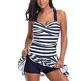 Badeanzug Damen Sportlich , Yogogo Einteiliger Bikini Set | Pad Push Up Badeanzüge Figurformende | Bademode Tankini | Schwimmen Anzüge | Badekleidung Bauchweg | Elastische Dünne Swimsuit (M, Blau)