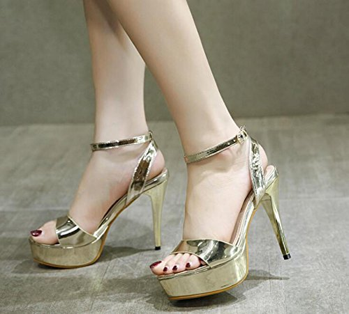 Beauqueen Charmante Hochzeitsplattform Elegante Sandalen Künstliche PU Hohle Knöchelriemen Stiletto High Heel Buckle Casual Nightclub Bar Sandalen Gold