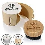 Eberbart Reise-Bartbürste mit 100% Wildschweinborsten inkl. Transportbox + Gratis-eBook – Ideal für die tägliche Bartpflege (Holzdose)