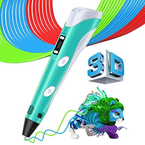 MYSWEETY 3D Pen Stylo 3D Doodle DIY Scribbler Imprimante avec écran LCD écran + 3M PLA Filament+ support de sécurité Impression dessin modèle Making Arts Crafts Dessin compatible avec ABS / PLA