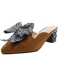 UH Damen Spitze Mules mit Blockabsatz und Schleife Slingback Pantoletten Slipper Schuhe