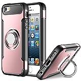 Mosoris iPhone 5S Hülle, Handyhülle mit Ring Kickstand, Premium Stoßfest Schutzhülle Case mit 360 Grad Drehbarer Ständer Handyhalterung Geeignet für Auto Magnet Ring für iPhone 5/ 5S/ SE, Rosé Gold