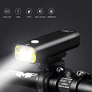 Wheel UP USB Rechargeable Bicycle Light, Front Professional Mountain Bike Lights, Battery Capacity of 2500mAh, 400lm, 5 Lighting Modes, Waterproof, Wide Beam Angle
