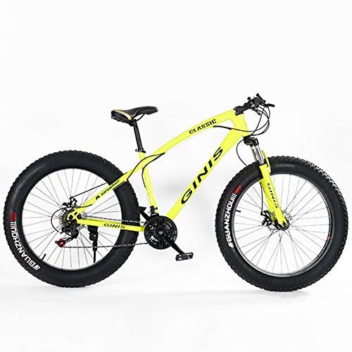 NENGGE Jugend Mountainbike, 21 Gang-Schaltung 24 Zoll Fette Reifen Fahrrad, Rahmen aus Kohlenstoffstahl, Fahrrad mit Scheibenbremsen,Gelb,Spoke