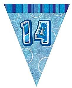 Unique Party Banderines de 14 cumpleaños, Color Azul, Edad (92154)