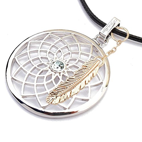 Gepardini Traumfänger Halskette mit SWAROVSKI® Kristalle, (mit Feder Vergoldet)