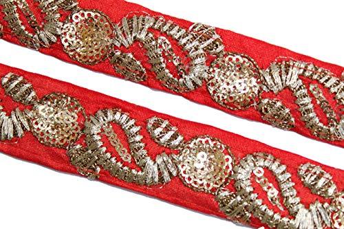 Generic Roter Zari-Besatz aus indischem Stoff, Brautkleid-Verzierung, indisches Band, Jacquard-Besatz-Breite 02 cm-Preis für 1 Yard-IDL443