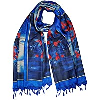Women Long Wraps Stole Silk Blend Blue Buddha Print Scarves Hair Scarf Shawl