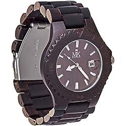 Holz Armbanduhr für Männer Frauen Maui Kool Lahaina Collection Schwarz Sandelholz Holz Uhr mit Bambus Geschenk-Box