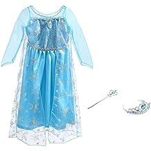 Vicloon Costume di Principessa Elsa, Vestito per Bambine, Abiti Cosplay per Festa Compleanno Halloween Carnevale