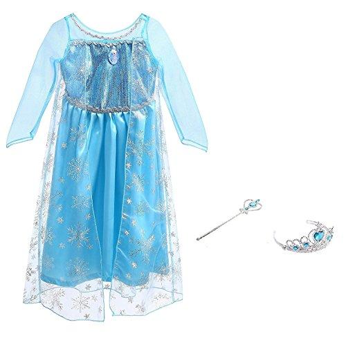 Vicloon Prinzessin Kostüm Mädchen, Eiskönigin Elsa Kleid Blau mit Diademe & Zauberstab, für Weihnachten Karneval Party Halloween (Elsa Kostüme)