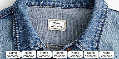 INDIGOS UG® Namen Aufkleber Textilien - 30x15mm 60 Stück für Wäscheetiketten - Schulkleidung Kleidung Kleidungsetiketten individueller Aufdruck personalisiert kein Aufbügeln Aufnähen Namensetiketten