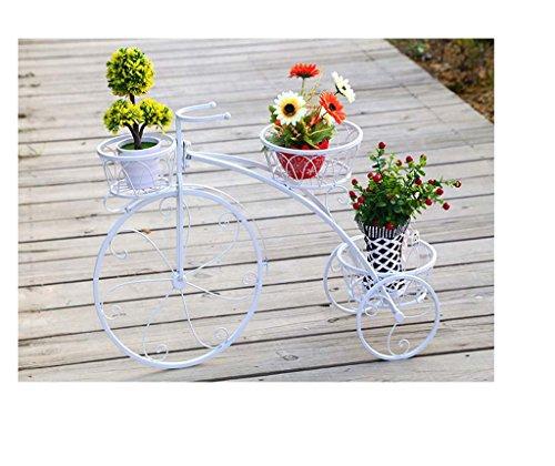 FZN Hierro Flor bastidores soporte para bicicletas planta habitación-sala de estar de estilo europeo puesto de flores Jardinería Macetas para flores ( Color : Blanco , Tamaño : 60*44 )