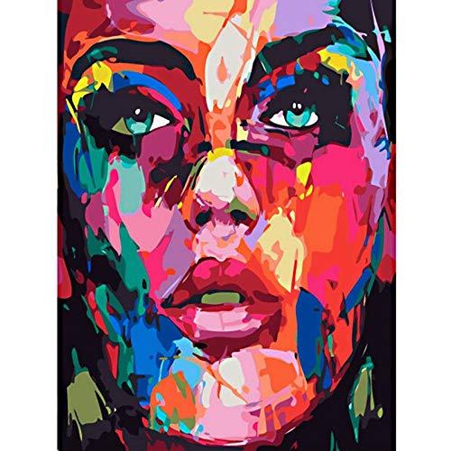 CYACC Dekoration Poster DIY Ölgemälde nach Zahlen Abstrakte Kunst Porträt Bild Digital Painting Learning Begin Malen auf Leinwand @ 16x20_3_China